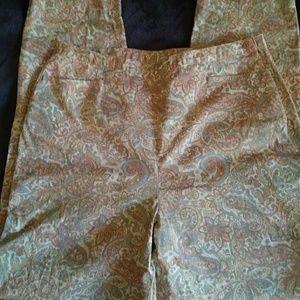 Talbots Vintage Paisley Stretch Pants